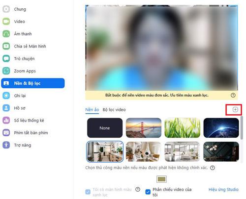 Để chọn background tuỳ ý, chọn mụcdấu +>chọn hình ảnhtrong máy