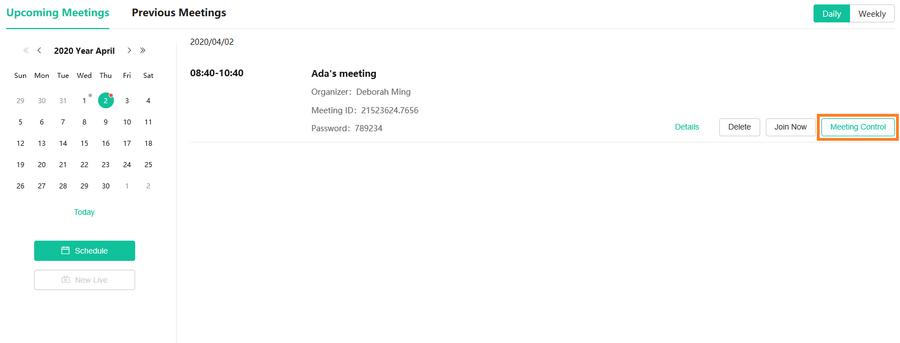 Meeting Control