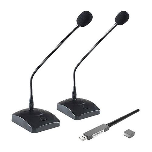 Khoảng cách tối đa giữa bộ thu USB và micrô cổ ngỗng là 10 mét