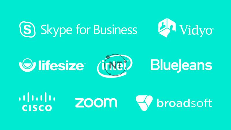 chứng nhận tương thích với Skype for Business và Cisco Jabber™, và tích hợp nâng cao với BlueJeans, Broadsoft, LifeSize Cloud, Vidyo và Zoom.