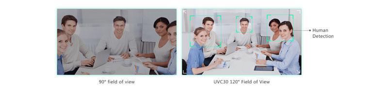 Ống kính góc siêu rộng bao phủ căn phòng UVC30 - Camera 4K FoV 120 °