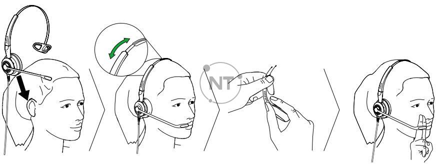 Cách đeo tai nghe Jabra Biz 2400 II Duo / Mono