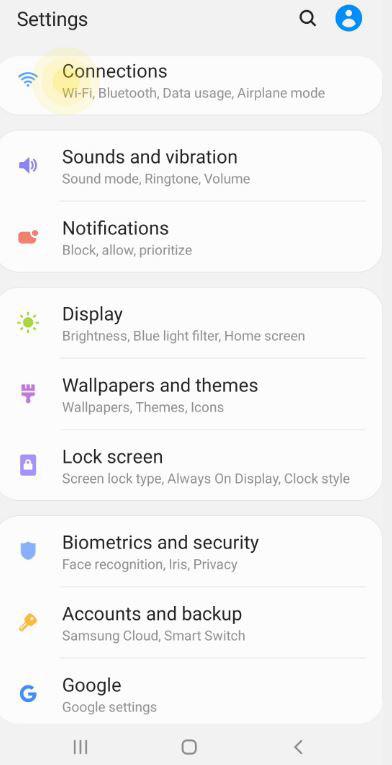 Trên thiết bị Android của bạn, đi tới Apps, Settings, Connections, Bluetooth.