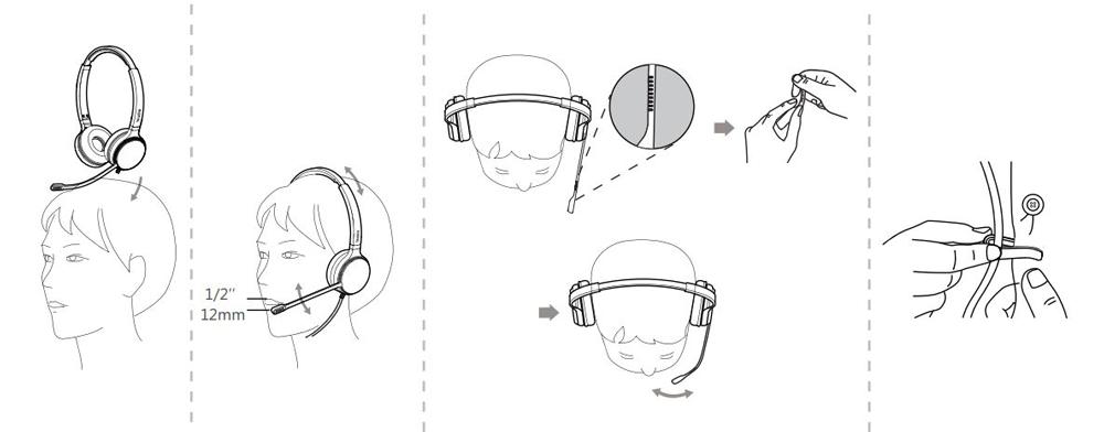 Cách mang và điều chỉnh tai nghe Yealink UH36