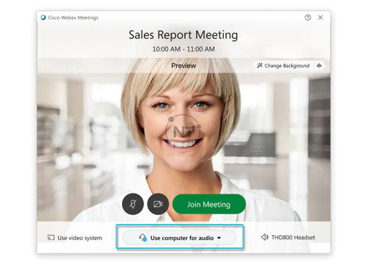 Nhấp vào các tùy chọn kết nối âm thanh trong ứng dụng Webex Meetings