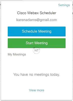 Bạn cũng có thể lên lịch cuộc họp bằng cách chọn biểu tượng Cisco Webex Scheduler