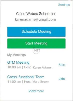 Xem các cuộc họp Webex sắp tới của bạn trong mục My Meetings