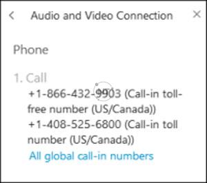 Cisco Webex có thể được cài đặt để sử dụng tính năng Global Call-In Numbers