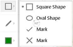 Nếu bạn đang sử dụng Windows, hãy nhấp vào mũi tên để vẽ hình bầu dục, dấu kiểm hoặc dấu x.
