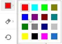 Thay đổi màu của văn bản, đường kẻ, hình dạng và công cụ bút hoặc bút chì.  Nhấp vào mũi tên để chọn màu. annonate