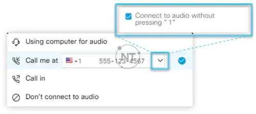 Nhập hoặc chọn số điện thoại bạn muốn cuộc họp gọi. Bạn cũng có thể chọn kết nối với âm thanh mà không cần nhấn phím 1