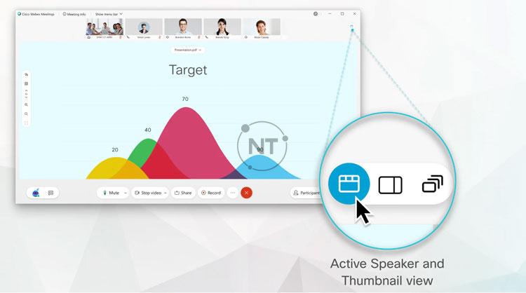 Để chuyển đổi chế độ xem, hãy chọn biểu tượng Active Speaker and Thumbnail View ở góc trên cùng bên phải của màn hình.