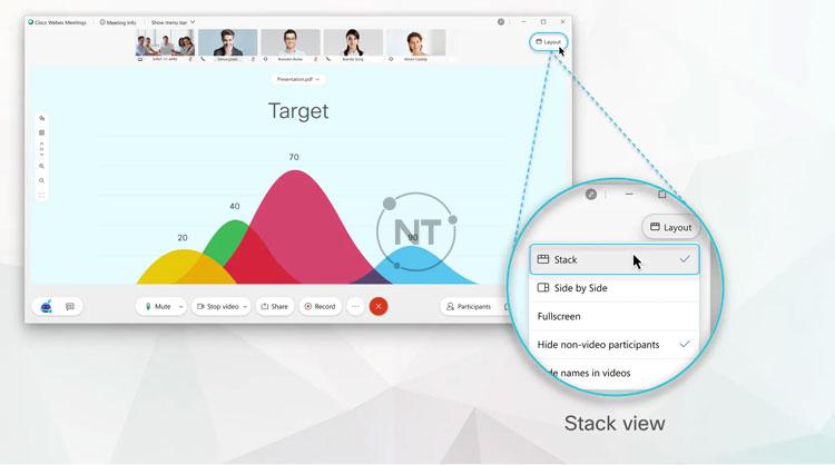 Trong chế độ xem Stack view, khi ai đó bắt đầu chia sẻ, sự tập trung sẽ chuyển vào nội dung được chia sẻ của người đó