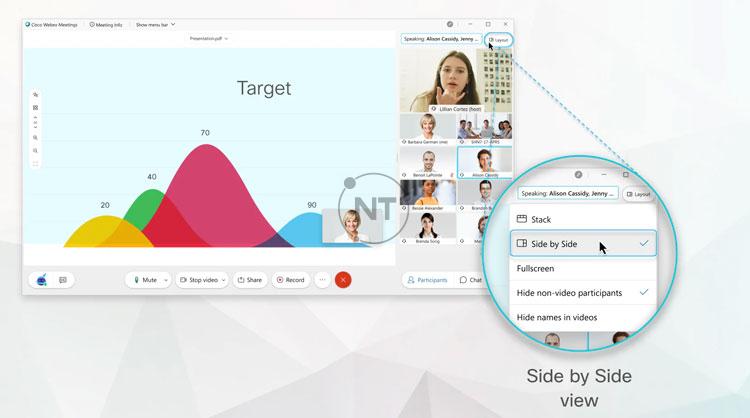 Chế độ xem Side by side view cho phép bạn xem nội dung được chia sẻ bên cạnh video của những người tham gia chế độ hiển thị