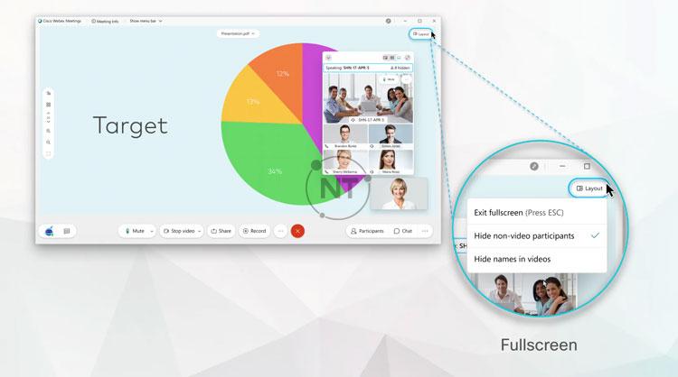 Chế độ xem Toàn màn hình Fullscreen giúp tăng kích thước nội dung được chia sẻ