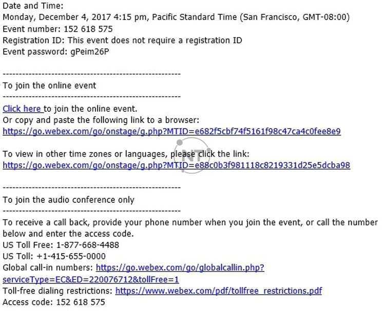 Chọn liên kết tham gia cisco webex event trong lời mời qua email của bạn