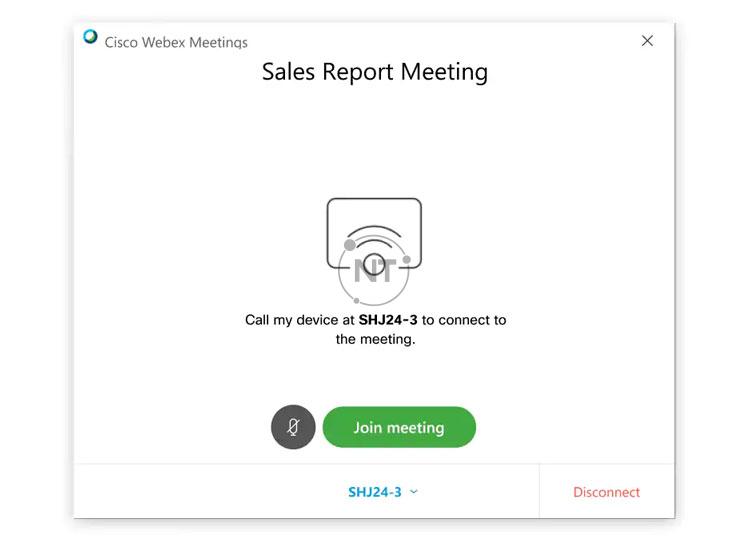 gọi đến thiết bị của bạn khi bạn chọn Tham gia cuộc họp với cisco webex