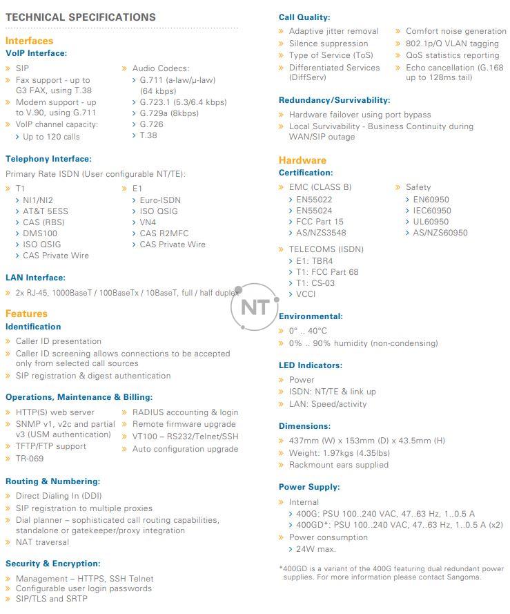 Xem bảng thông số kỹ thuật Vega 400G chi tiết