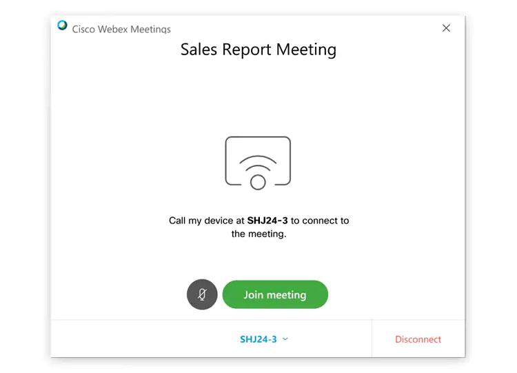 Cisco Webex Meetings desktop app sẽ tự động kết nối với hệ thống video của bạn hoặc gọi đến thiết bị của bạn khi chọn Join meeting.