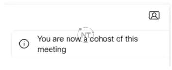 Cohosts - Người đồng chủ trì cuộc họp có các đặc quyền quản lý cuộc họp tương tự như Host trên Webex