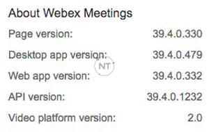Thông tin phiên bản Webex
