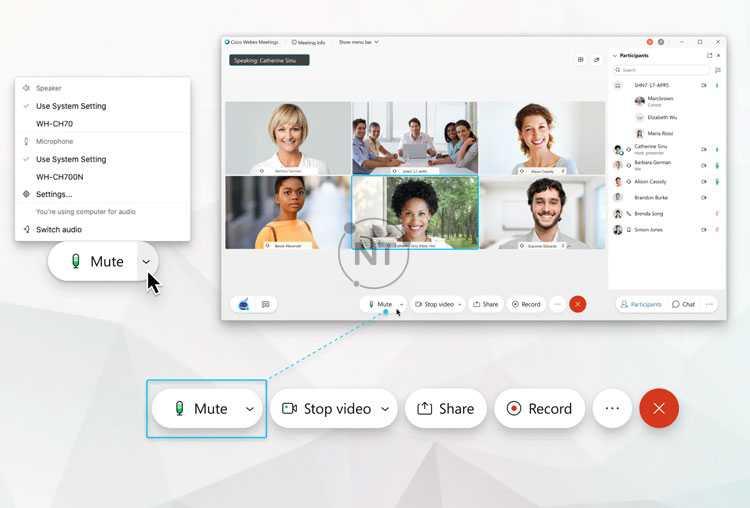 các hướng dẫn cụ thể về cách sử dụng tính năng tắt tiếng và bật tiếng cho các cuộc họp, buổi hội nghị và đào tạo trên Webex Meetings
