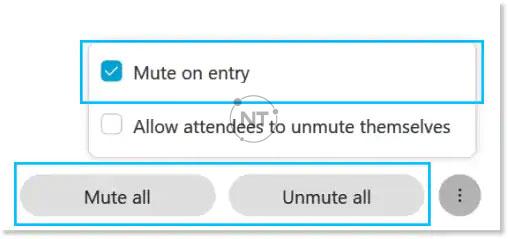 tắt tiếng các cá nhân hoặc tất cả mọi người cùng một lúc, ngăn người tham gia tự bật tiếng và tự động tắt tiếng người tham gia