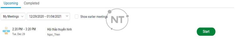 Xem danh sách các cuộc họp webex