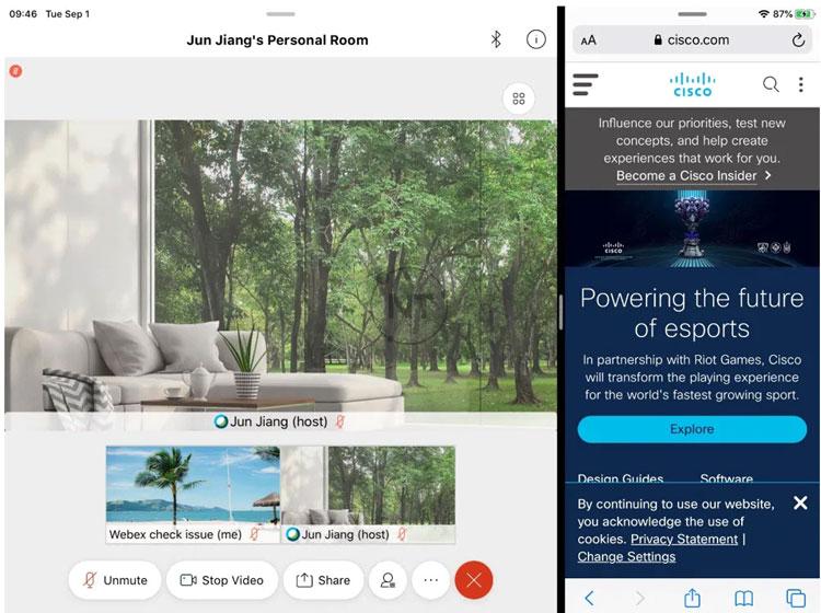Tính năng Multitask của webex meetings trên thiết bị iOS