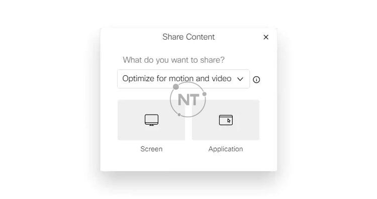 cài đặt tối ưu hóa khi chia sẻ nội dung trên Webex Meetings