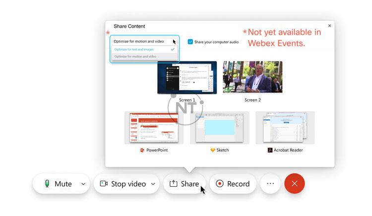 Tối ưu hóa cho nội dung động và video yêu cầu nền tảng video Cisco Webex phiên bản 2.0