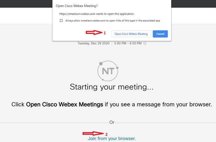 Người tham dự có thể tham gia vào cuộc họp Webex thông qua lời mời từ gửi từ chủ phòng.