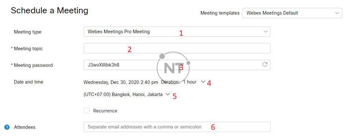 Webex Meetings cho phép bạn lên lịch cho một cuộc họp mới.