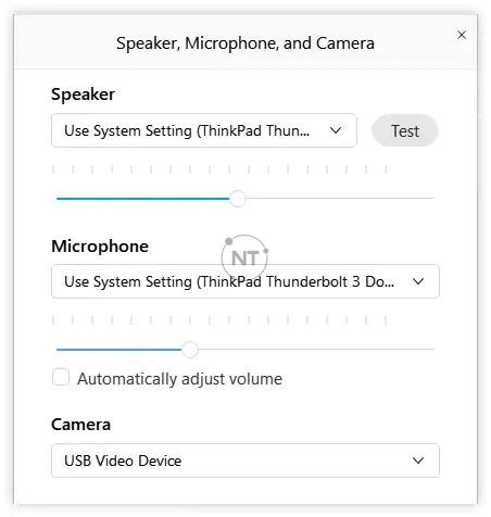 Cách điều chỉnh âm lượng micrô và loa trên webex meetings