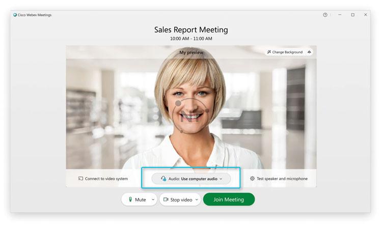 Nhấp vào các tùy chọn sử dụng kết nối âm thanh trong Webex Meetings.