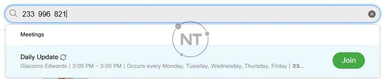 Tham gia bằng cách sử dụng thanh tìm kiếm trên trang Webex của bạn