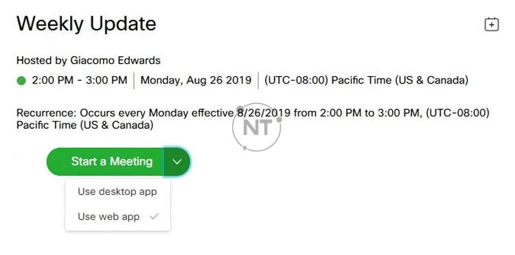 Chọn mũi tên thả xuống ở bên phải của nút Join Meeting, sau đó chọn Use web app