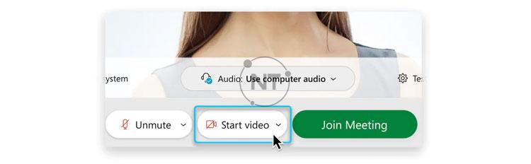 Để tham gia cuộc họp với video bị tắt, hãy nhấp vào Stop video