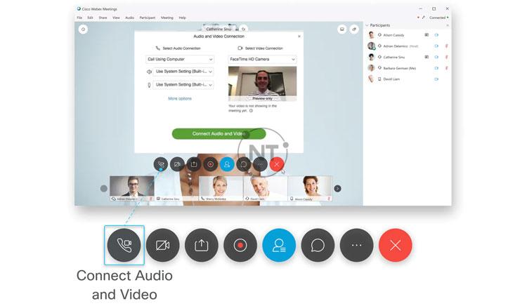 Kết nối âm thanh và video trên Cisco Webex Meetings