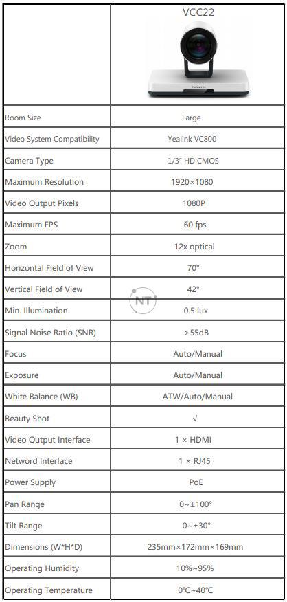 Thông số kỹ thuật của Yealink VCC22