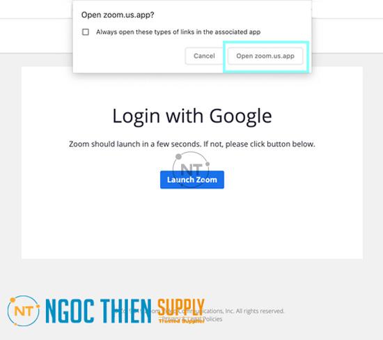 Bây giờ, hãy click vàoOpen zoom.us.appđể mở ứng dụng trên máy Mac.
