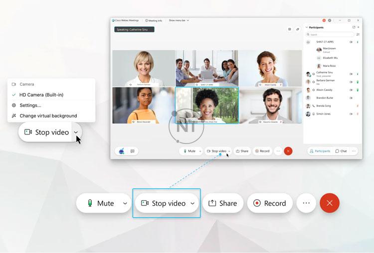 Cách bật tắt nhanh video trong Webex Meetings