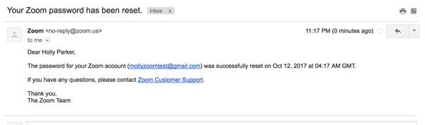 Lưu ý : Bạn cũng sẽ nhận được email xác nhận rằng mật khẩu của bạn đã được đặt lại.