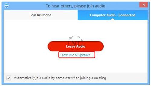 """Tại đây, bạn có thể kiểm tra mic và âm thanh: bằng cách bấm chọn biểu tượng """"Audio Conference"""" để mở cửa sổ kiểm tra và bấm chọn """"Test Mic & Speaker"""""""