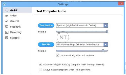 Màn hình kiểm tra mic và âm thanh: