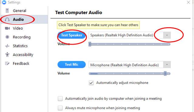 Trường hợp bạn khong nghe thấy tiếng, thì bạn thực hiện nhấn chọn thiết bị khác nằm ở trong hộp thả xuống, nằm bên phải nút test Speaker , sau đó bạn thực hiện lặp lại các bước cho đến khi bạn nghe thấy được âm thanh