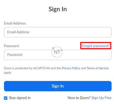 """Sử dụng chức năng """"Forgot password?"""""""