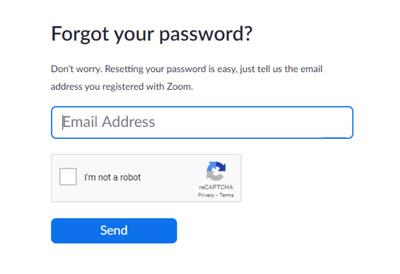 """Đăng nhập zoom - Nhập email cá nhân của bạn và """"Send"""""""