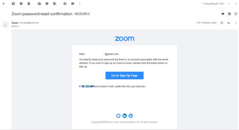 Kiểm tra hòm thư email để kích hoạt tài khoản.