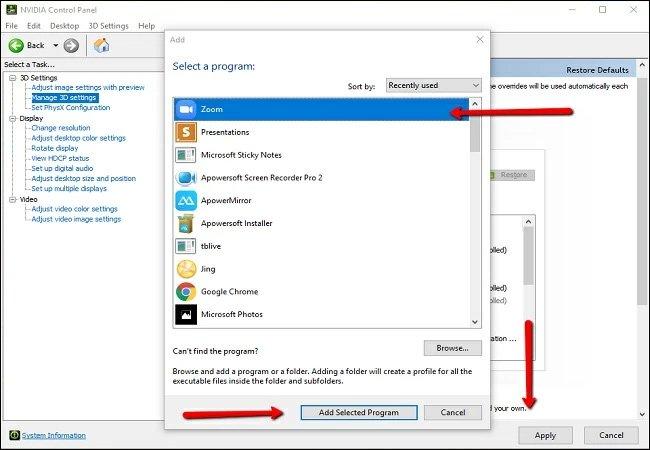 Nhấn tiếp Add Selected Program và nhấn Apply. Sau đó khởi động lại Zoom để sửa lỗi.
